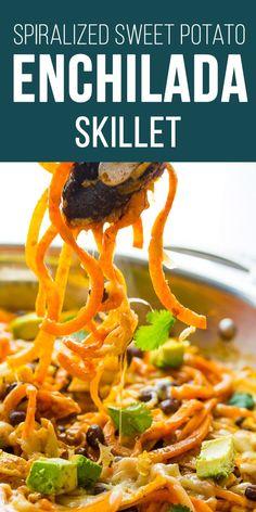Enchilada Sweet Potato Noodles Skillet #sweetpeasandsaffron #spiralizer #sweetpotato #enchilada #onepan #30minmeal #skillet