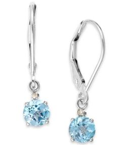 Aquamarine Leverback Earrings in 14k White Gold (9/10 ct. t.w.)