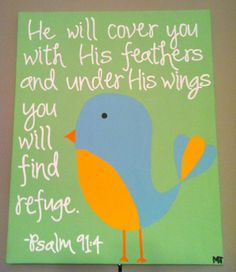 Psalm 91:4, Bible Verse Art, 16 x 20, Blue Bird, Hand Painted Wrapped Canvas. $40.00, via Etsy.