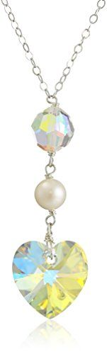 """Sterling Silver Swarovski ElementsHeart and Bead with White Freshwater Pearl Y-Shape Necklace, 18"""" * Read more at the image link."""