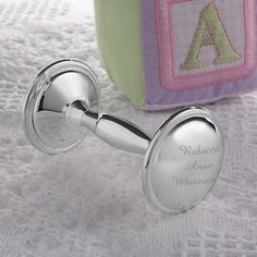 Gift Idea: Personalized Silver Plated Baby Rattle
