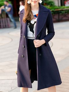 #AdoreWe Olrain Navy Blue Lapel Buttoned A-line Solid Long Sleeve Coat - AdoreWe.com