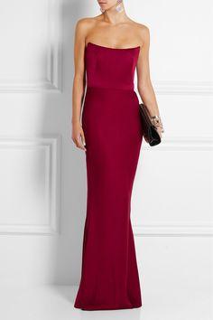 Alexander McQueen | Strapless satin gown | NET-A-PORTER.COM. Beautiful column dress