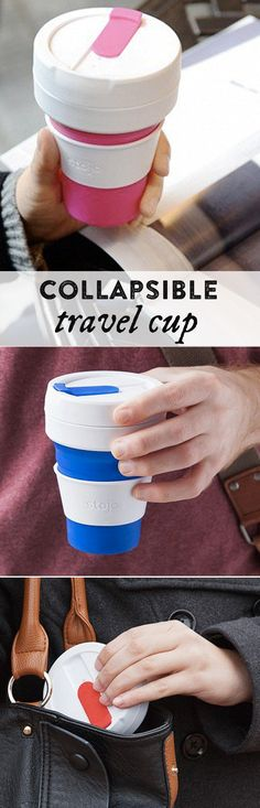 This travel coffee cup folds down fast into a two-inch-thick disc that fits in your jacket pocket or bag. We're loving this clever design! Travel Coffee Cup, Travel Cup, Travel Gifts, Travel Packing, Coffee Cups, Travel Gadgets, Cool Gadgets, Baby Gadgets, Tech Gadgets