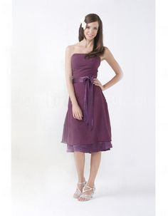 Affordable A-Line Strapless Knee Length Chiffon Bridesmaid Dress