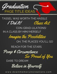 Inspiration for your Grad pages! Want to learn about the easiest & fastest way t. Inspiration for your Grad pages! Want to learn about the easiest & fastest way to scrapbook? Senior Scrapbook Ideas, Graduation Scrapbook, School Scrapbook Layouts, Scrapbook Quotes, Scrapbook Titles, Graduation Quotes, Scrapbook Journal, Scrapbooking Layouts, Scrapbook Cards