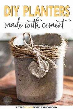 Cement pots made with molds you can find in your recycling bin. These sweet little planters are perfect for summer herbs, a window sill garden, or even as wedding centerpieces. #cement #planters #herbpots #gardening #diyprojects #concrete #rustic #clay