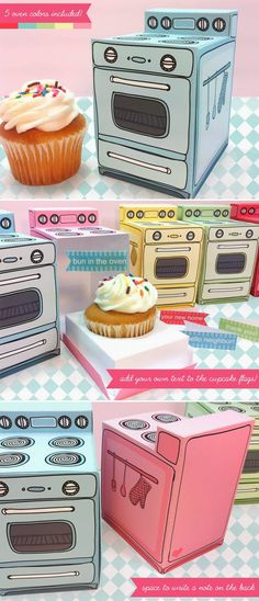 Retro Oven Cupcake Box - are these great, or what???  I would rather be able to make them myself instead of buying a kit, but, oh well.