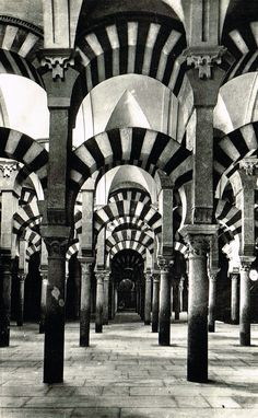 Lot of 2 Vintage 1950s Spanish Photo Postcards The Great Mosque of Córdoba Exterior & Interior Views Moorish Architecture in Ancient Spain
