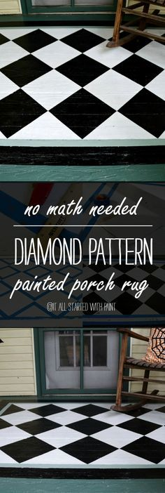 Painted Porch Rug - Diamond Pattern - Easiest Tutorial How To Paint with No Math Needed Painted Porch Floors, Porch Flooring, Painted Rug, Porch Paint, Patio Rugs, Outdoor Rugs, Porch Rugs, Inexpensive Patio, Concrete Porch