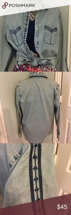 NWOT - cabi spring 16 Bardot Top sz M NWOT - Bardot Top from cabi- spring 16 sample item. Chambray type material with extensive detailing & embroidery. CAbi Tops Button Down Shirts