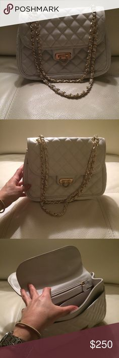 White leather bag with gold chain. White leather bag with gold chain.  Small pair of flat fit in the bag. WendL Bags Crossbody Bags