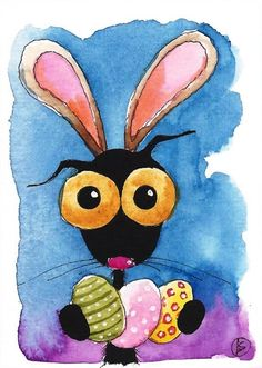 ACEO Original watercolor whimsy Stressie Cat painting Lucia Stewart Happy Easter #IllustrationArt