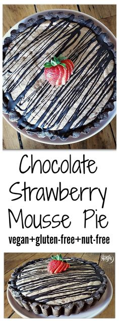 Chocolate Strawberry Mousse Pie with a Chocolate Graham Cracker Crust! This recipe uses aquafaba as the mousse base and is vegan, gluten-free, and nut-free.