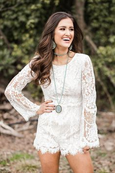 Calling all BRIDES !!! This gorgeous lace romper is perfect for a bachelorette party or any bridal event! #bride #shop #fashion