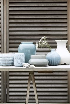 Pastel blue vases! Lovely home decoration