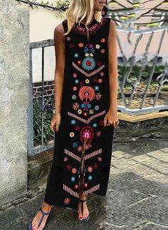 Floral Tunic V-Neckline Maxi Shift Dress - Black S Women's Fashion Dresses, Boho Fashion, Maxi Dresses, Böhmisches Outfit, Bohemian Mode, Floral Tunic, Buy Dress, Dress Collection, Trends