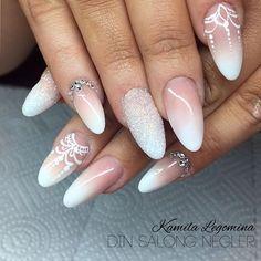 9 lovely nail designs to try for long short nails - Page 4 of 9 Nail Tip Designs, Short Nail Designs, Art Designs, Wedding Day Nails, Bridal Nails, Nail Polish Trends, French Tip Nails, Dream Nails, Cute Nail Art