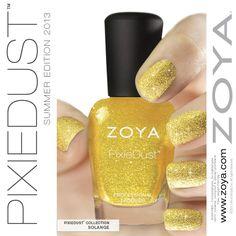 True gold  glitter matte nail polish in solange from zoya's 2013 summer Pixie dust collection Zoya-Nail-Polish-Solange-ZP683