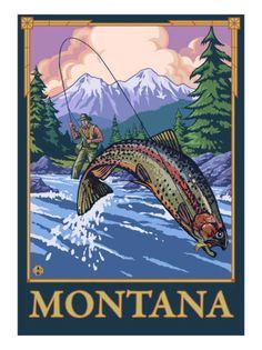 Fly Fishing Scene, Montana