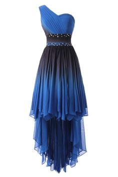 DINGZAN One Shoulder High Low Chiffon Prom Homecoming Dresses Summer Bridesmaid Gowns 17 Blue and Black