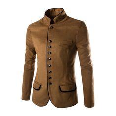 Estilo retro de lana traje de caballero de cuello de pie solo pecho ribete capa del juego en línea - NewChic