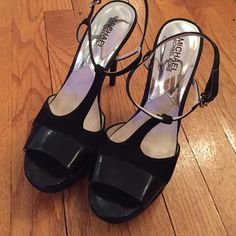 weekend sale Michael Kors platform sandals. 9M leather and suede platform sandals. Worn a few times. In beautiful condition. Only wear is on inside where the top of the foot meets the sandal. Not at all noticeable. 5 inch heels and 1 inch platform. Michael Kors Shoes Platforms