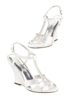 David s Bridal Dyeable high heel wedge sandal with beaded T-strap Style  Willow Bridal  amp bd1132b72044