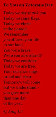 Veterans Day Thank You Poems | The Poem Farm: To You on Veterans Day - Poem #226 | growing poetry and ...