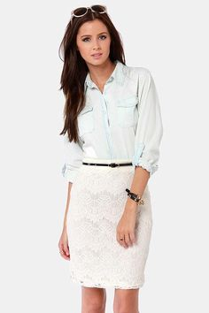 Blue linen blouse and white skirt...in my closet