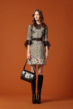 Andrew Gn Pre-Fall 2015 - Look 25 - The most demure little goth dress in white, lasercut gray valencian patterns, black dotted swiss ruffles on the sleeves, black striped sheer neck detail