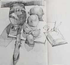 Ex 3 Sketchbook by Sarah Sedwick Realistic Pencil Drawings, Pencil Art Drawings, Art Drawings Sketches, Object Drawing, Still Life Drawing, Artist Sketchbook, Aesthetic Drawing, Sketch Inspiration, Graphite Art