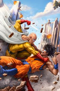 1080x1920 Goku And One Punch Man 5k Art One Punch Man Anime One Punch Man Saitama One Punch Man