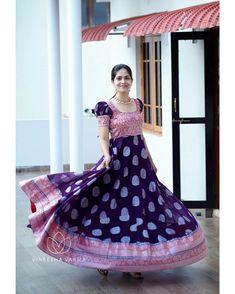 reuse saree, dress from saree, recycle saree Saree Gown, Anarkali Dress, Long Gown Dress, Long Dresses, Full Gown, Long Gowns, Half Saree Designs, Dress Designs, Blouse Designs