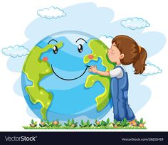 A girl hugging the earyh Free Vector Earth Day Drawing, Earth Drawings, Save Environment, Environment Concept Art, Environmental Art, Save The Planet, Planets, Vector Free, Clip Art