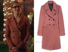 Felicity Smoak (Emily Bett Rickards) wears this pink double breasted coat in this week's episode of Arrow. It is the Judith & Charles Bisset Coat. Felicity Smoak, Arrow Felicity, Purple Trench Coat, Brown Suede Jacket, Black White Striped Dress, Lace Sweater, Denim Flares, Double Breasted Coat, Pink Jacket