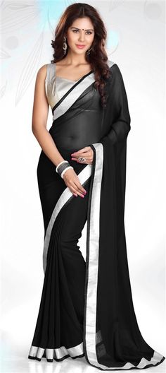 153299, Party Wear Sarees, Embroidered Sarees, Faux Georgette, Zari, Lace, Black and Grey Color Family