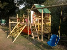 Double deck jungle gym, a great idea for double the play area, without double the price! Outdoor Gym, Outdoor Decor, Treehouse Ideas, Wendy House, Jungle Gym, Double Deck, Play Houses, Kid Stuff, Cool Designs