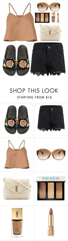 """""""Black Flower Slides"""" by gemique ❤ liked on Polyvore featuring Dolce&Gabbana, TIBI, Louis Vuitton, Yves Saint Laurent and Bobbi Brown Cosmetics"""