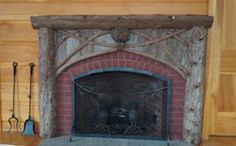 www.lpostrustics.com  Cedar bark, posts and branch mantel.