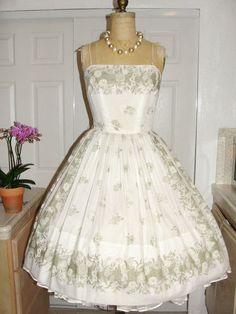50s Garden Party Dress Vintage 1950s Coral Floral Print