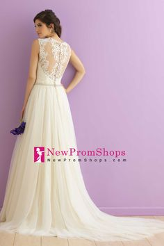 2016 Wedding Dresses V Neck  Sleeveless Tulle Covered Button Back With Applique