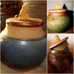 wooden handles on lidded jars - studio potter peveragno