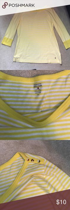 Tommy Hilfiger Quarter Length Shirt Only worn once, beautiful button detailing on the top of shirt, great condition, awesome for any casual days Tommy Hilfiger Tops Blouses