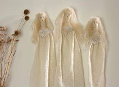 Spirit Dolls handmade in textile 'The Lovers Ghosts' Victorian inspired dolls by Pantovola