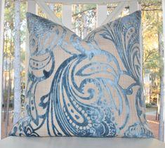 Decorative Designer Blue Pillow - Blue Geometric Scroll Damask Pillow - Blue Velvet Textured Throw Pillow