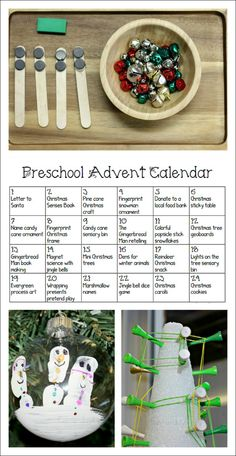 Free printabe Advent calendar for preschoolers - full of fun ideas that also work on early learning skills