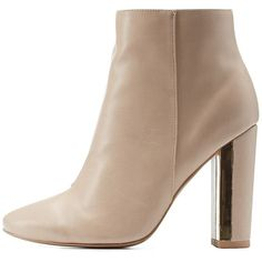 Charlotte Russe Nude Qupid Metallic Chunky Heel Almond Toe Booties by... ($46) ❤ liked on Polyvore featuring shoes, boots, ankle booties, nude, vegan boots, nude boots, thick heel boots, lug sole boots and lug sole booties