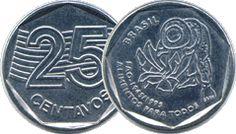 Moeda brasileira 50 centavos de real alusiva aos 50 anos da FAO
