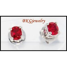 18K White Gold Gemstone Stud Ruby Jewelry Earrings by BKGjewels